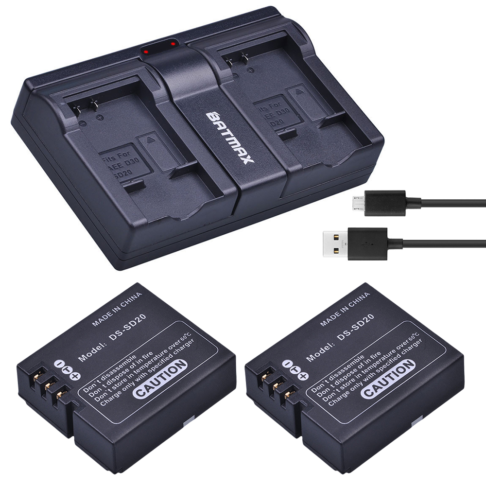 2Pcs DS SD20 SD20 DS SD20 Batteries USB Dual Charger for Rollei 3S 4S 5S ActionPro