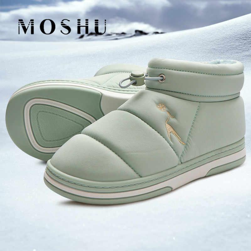 2019 Kış kar ayakkabıları Kadın yarım çizmeler Kadınlar için Kürk Botları Sıcak Peluş Ayakkabı Bayanlar Üzerinde Kayma Kapalı Patik Faux Kürk Botas mujer