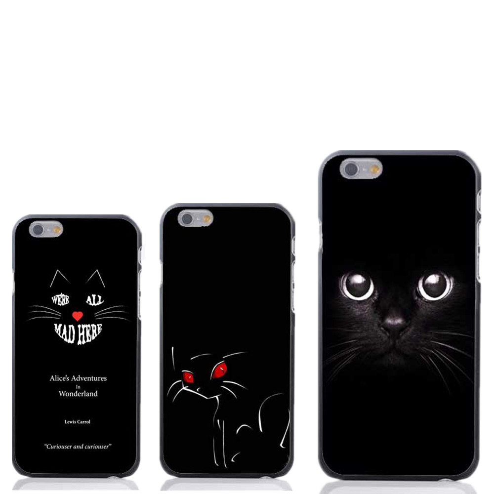 Alice in wonderland Black cat back Style Hard Black Skin Case Cover for apple iPhone 4 4S 5 5S 5C 6 6S 6Plus free shipping