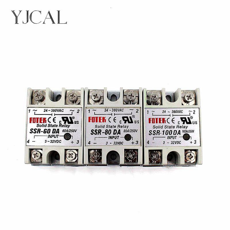 цена на YJCAL Solid State Relay SSR-60DA SSR-80DA SSR-100DA 60A 80A 100A 3-32V DC TO 24-380V AC SSR 60DA 80DA 100DA