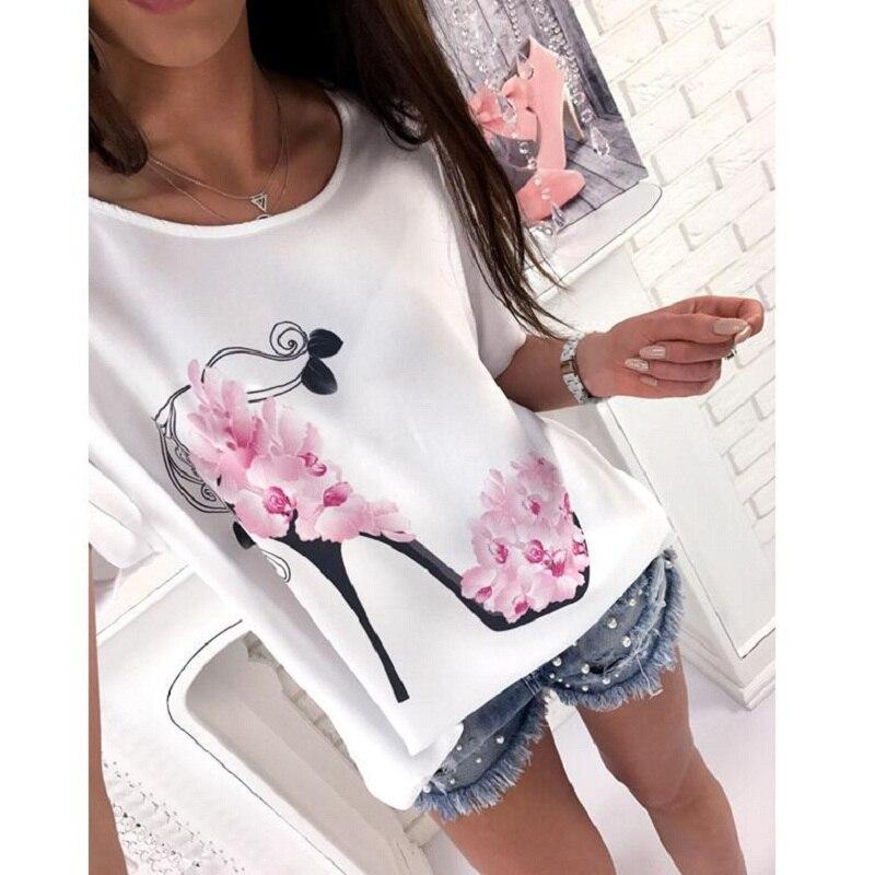3XL New Arrival Summer 2019 Casual Women T-shirts O-neck Bat