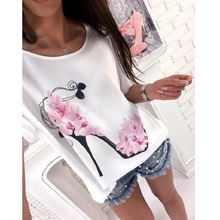 3XL New Arrival Summer 2018 Casual Women T-shirts O-neck Batwing Sleeve Printed Loose Shirt Plus Size Women Clothing Women Tops