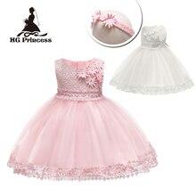 Hot Sales 3M-18M Newborn Infant Party Dresses 2019 New Arrival Pink Baby Dress For 1 Year Girl Birthday Toddler Christening Gown цена в Москве и Питере
