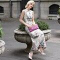 XXXL! Высокое Качество Китайский Новый Стиль 2016 Осень Зима Женщины Старинные Вышивки Рукавов Bodycon Оболочка Длинное Платье Qipao Леди