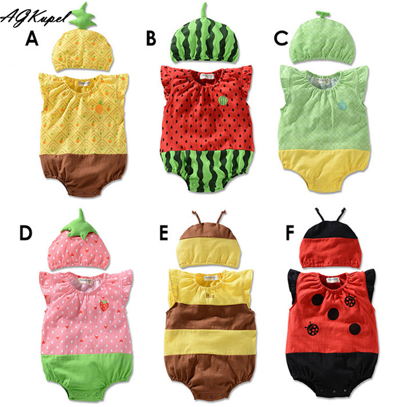 Hot 2015 Baby Rompers Girl Clothing Set Fruit Romper+Hat Infant Baby Boys Clothes Babies Rompers Roupas Jumpsuit For Newborn Q17