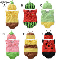 Hot 2016 Baby Rompers Girl Clothing Set Fruit Romper+Hat Infant Baby Boys Clothes Babies Rompers Roupas Jumpsuit For Newborn Q17
