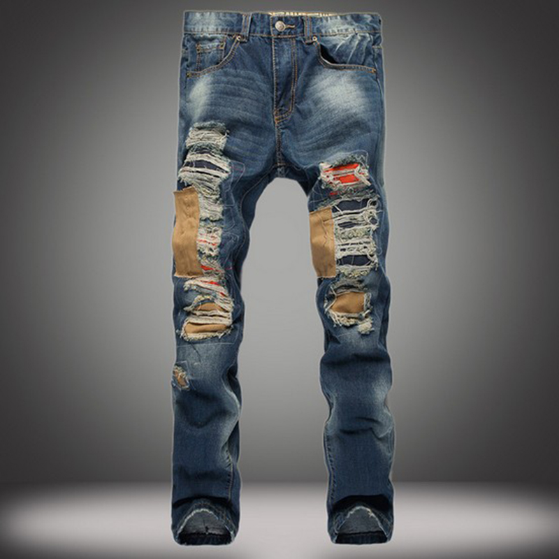цена на New popular style hole patch beggars slim jeans men pants men fashion trousers jeans pants for mens