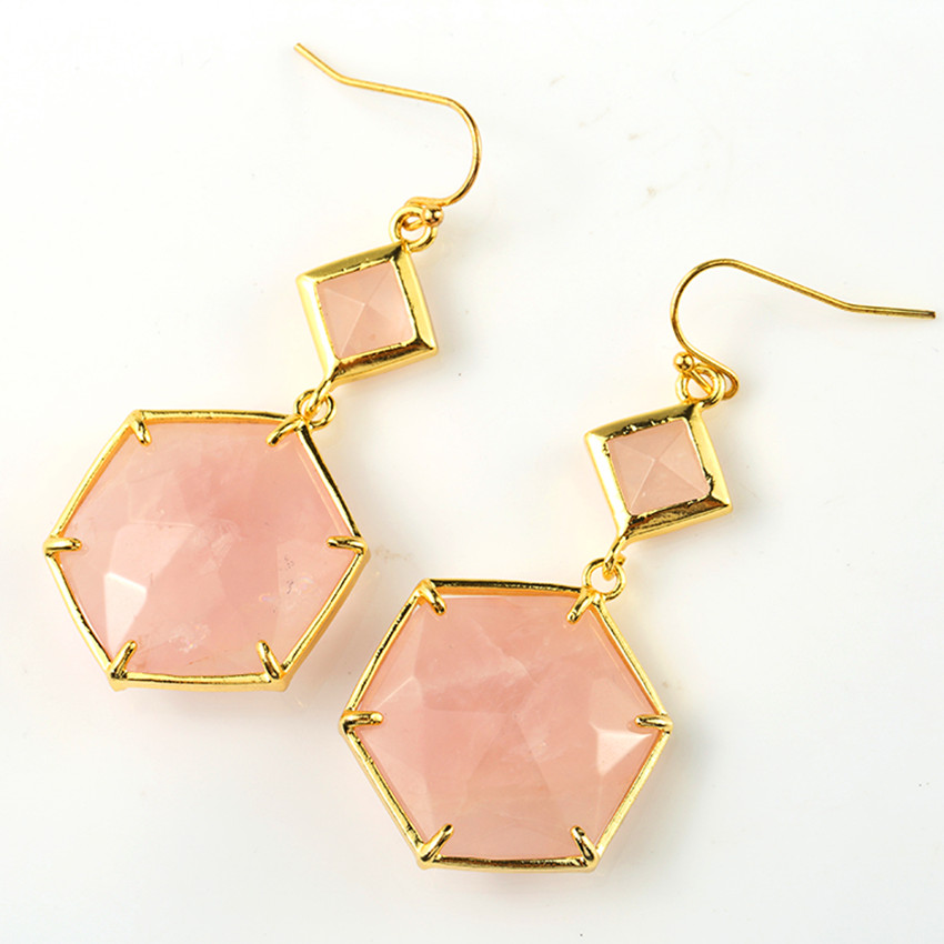 100 Unique 1 Pair Light Yellow Gold Color Natural Rose Pink Quartz Earrings Elegant Women Jewelry in Drop Earrings from Jewelry Accessories