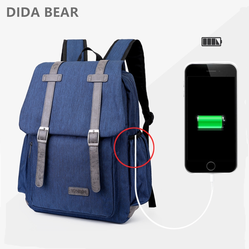 DIDA BEAR USB Charging Backpack Men Laptop Backpacks For Teenagers Boy Male Mochila Waterproof Travel Backpack Women School Bag kunzite 5 pc set men and women backpacks casual travel backpack mochila teenagers women student school book bags laptop backpack