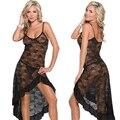 Verano Caliente de gran tamaño S-6XL, M, XL, XXL, XXXXL Dress + g-string Sexy Tentación encaje Tirantes Larga Ropa de Dormir Camisón Salón Hogar