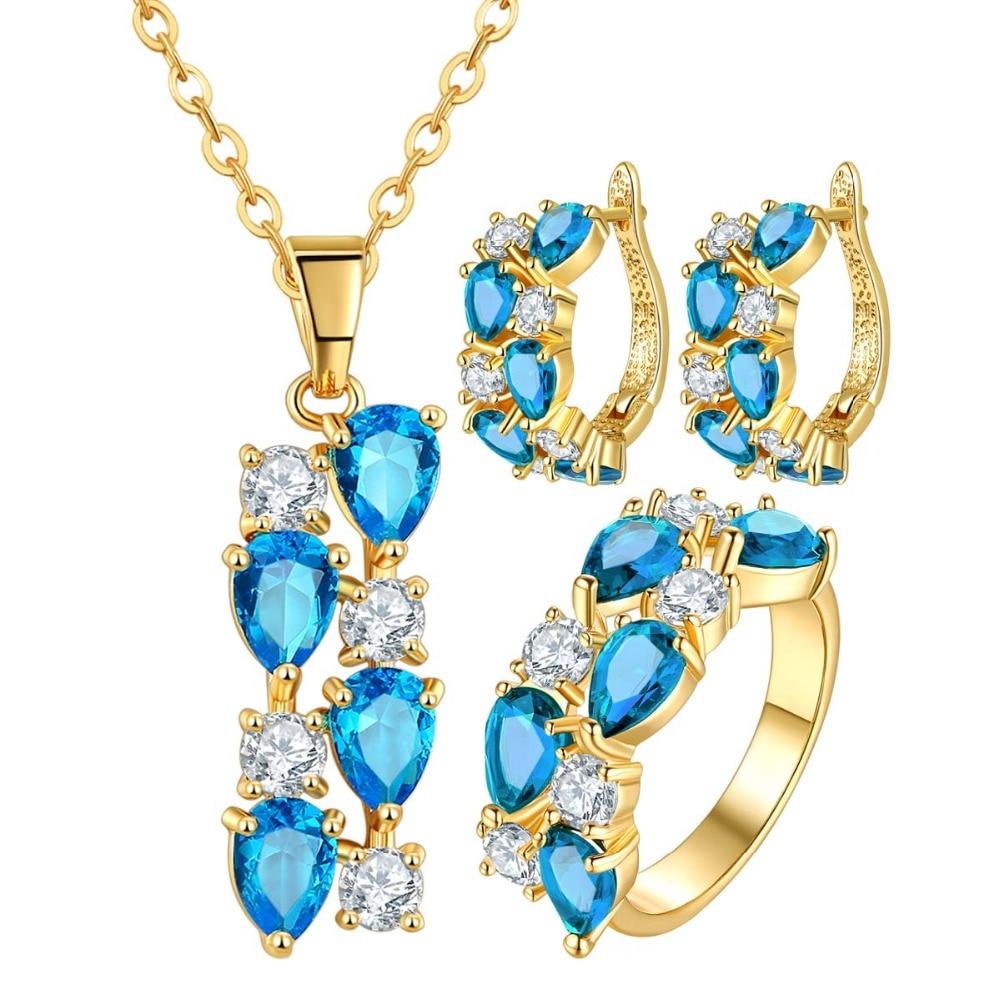 FYM Mona Lisa 5 Couleur Cristal Bijoux Ensembles Pour Les Femmes CZ Bijoux    Jewerly Or Jaune Couleur De Mariée Bijoux De Mariage ensembles d1fb82bb9fe1