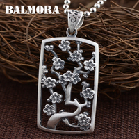 BALMORA 990 Pure Silver Hollow Flower Branches Pendants For Women Vintage Jewelry Accessories Gift Without A