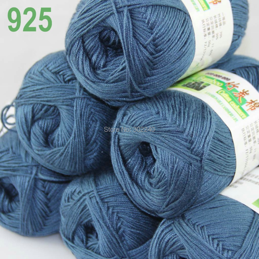 Lot of 6 Skeins Super Soft Natural Bamboo Cotton Knitting Yarn Steel - Arts, Crafts and Sewing - Photo 1