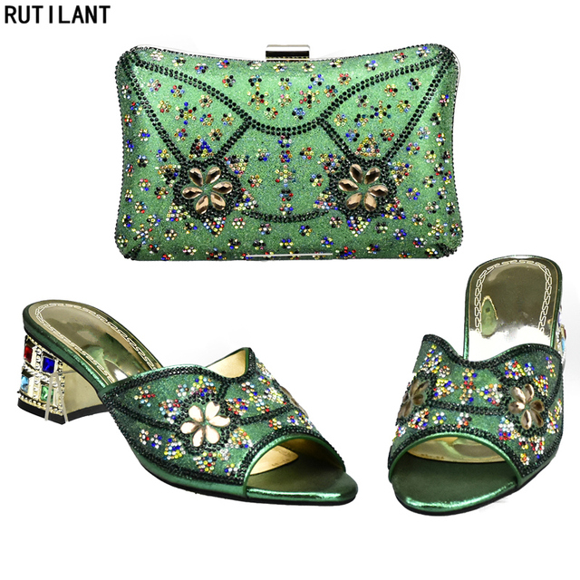 398507da2ac58 Ostatnie Zielony Kolor Włoskie Buty z Pasującymi Torby na Ślub Włochy  Afryki Kobiety Włoskiego Buta i