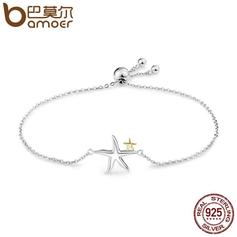 BAMOER Romantische Echtem 925 Sterling Silber Seestern Märchen Frauen Kette Link Armband Luxus Sterling Silber Schmuck SCB025