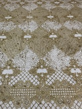 Top selling glued glitter sparkle african india mesh tulle fabric JIANXI.C 62519 with beads for wedding/evening dress