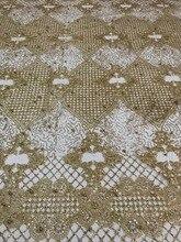 Top vendendo colado glitter faísca africano índia JIANXI.C 62519 com contas de tule de malha de tecido para o casamento/vestido de noite