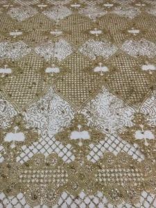 Image 1 - למעלה מכירת מודבק גליטר sparkle JIANXI.C 62519 בד אפריקאי הודו mesh טול עם חרוזים לשמלת כלה/ערב