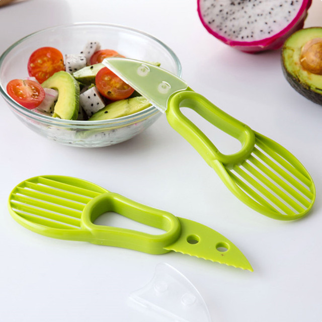 Generic 3 In 1 Avocado Slicer Peeler Skinner Color Green