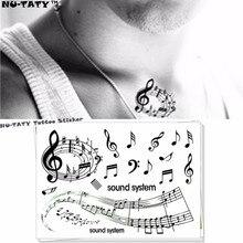 Nu-TATY Black Liner Notes Temporary Tattoo Body Art Flash Tattoo Stickers 17x10cm Waterproof Fake Tatoo Car Styling Wall Sticker