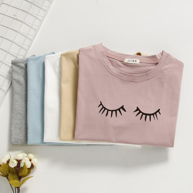 100% Cotton T Shirt Women Tops Summer O-neck T Shirt Eyelashes Printed Tops High Quality T-shirt For Woman Top T Shirt
