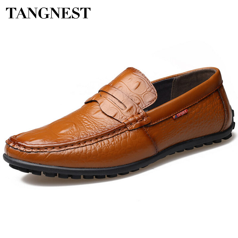 Tangnest Men Loafers 2017 New Hand-made Leather Driving Shoes Men Round Toe Slip-on Flats Spring Autumn Casual Shoes Man XMR2084 supper comfort mens genuine leather loafer shoes 2015 spring hand made loafers slip on flats for man shoes casual driving shoes