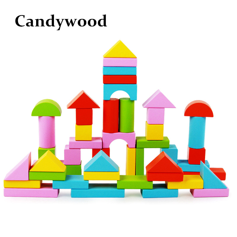 цены Candywood 50pcs high-quality color geometric shapes assembled building blocks Baby kid early intellectual development wooden toy