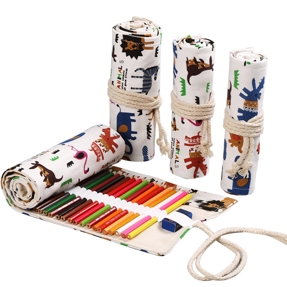36/48/72 Unisex Holes Canvas Wrap Rollup Pen Bag Holder Pencil Case Storage Pouch Pencil Organizer Set Cosmetic Cases