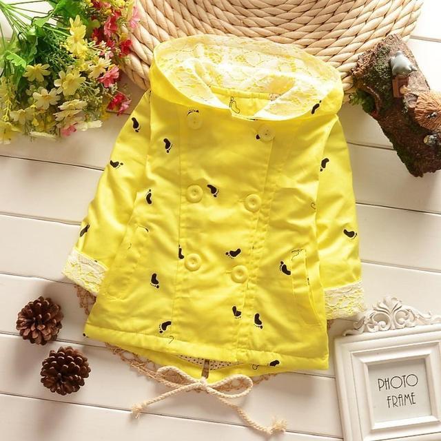Casaco infantil del bebé outwear chaqueta feminina roupa infantil lindo del bebé infantil de la muchacha con capucha cardigan trench coat por mayor