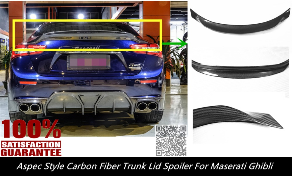 Free shipping!!! Ghibli spoiler--Aspec style carbon fiber spoiler for Maserati Ghibli Perfect fitment & nice quality guaranteed! maserati granturismo carbon spoiler