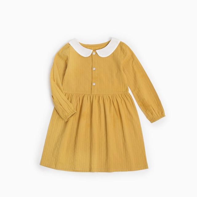 055ccd8cb4ff6 2018 Spring New Girl Dress Peter Pan Collar Mustard Children Dress Kids  Casual Dress European Girls Clothing