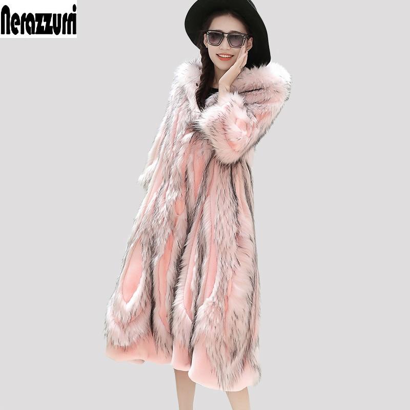 Nerazzurri Winter Faux Fur Coat With Hood Pink Furry Fluffy Colored Fake Fur Overcoat Plus Size Patchwork Fur Outwear 5XL 6XL