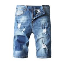 купить 2019 Summer New Mens Jeans Shorts Ripped Jeans For Men Denim Shorts Street Youth Casual Beach Shorts Men Jeans дешево