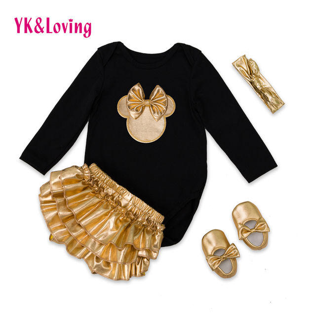 YK&Loving Black Girls Clothes Sets with Golden Bloomer+Golden Shoes+Hairband 4pcs for 0-2years Girls 2016 New Clothes F3011