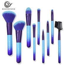 sy make up brushes 9pcs brush set professional Nature bristle brushes beauty essentials makeup brushes with bag top quality