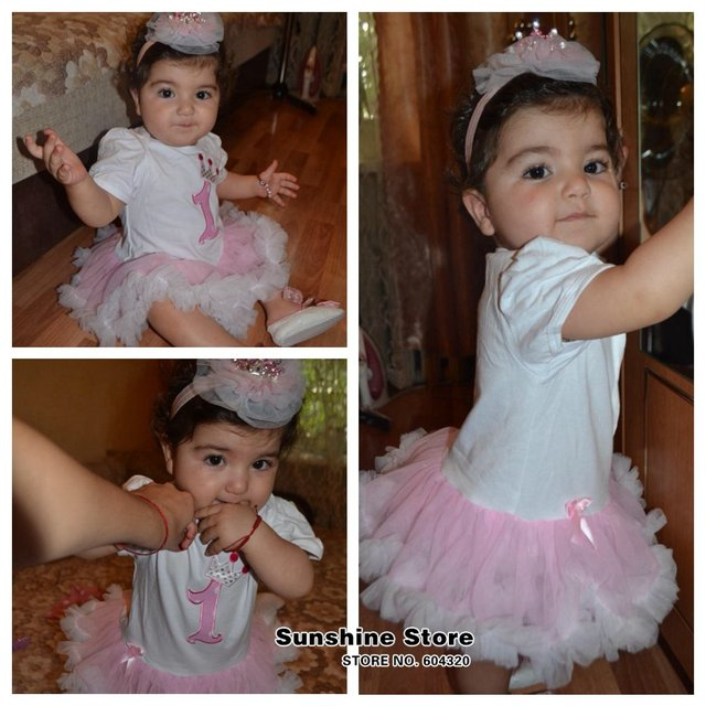 First Birthday Girl Tutu Set Newborn Clothing Ruffle Baby Clothes Baby Girl Christening Gowns Party Dress Headband Shoes Set 3