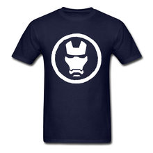 Minimal Iron Man Mask Tees Mens T Shirt Black T-shirts Round Collar Cotton Fabric Clothing Superhero Labor Day Plain Tops(China)