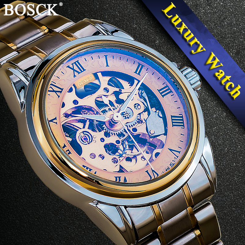 BOSCK 3D Ontwerp Hollow Self-winding Mechanische Horloges Graveren Skelet Mens automatische mechanische horloges Relojes Mecanicos