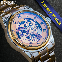 BOSCK 3D Design Hollow Self Winding Mechanical Wristwatches Engrave Skeleton Mens Automatic Mechanical Watches Relojes Mecanicos
