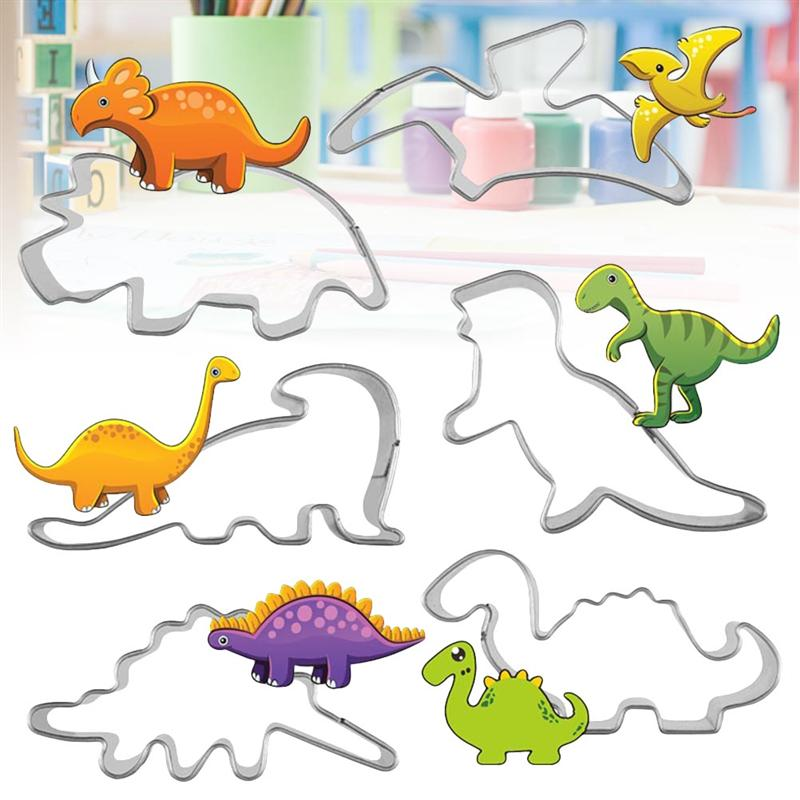 Cookie Cutter Dropshipping 6 Pcs Animal Dinosaurs Stainless Steel Cookie Cutter Set Cake Biscuit Mould Fondant Cutter