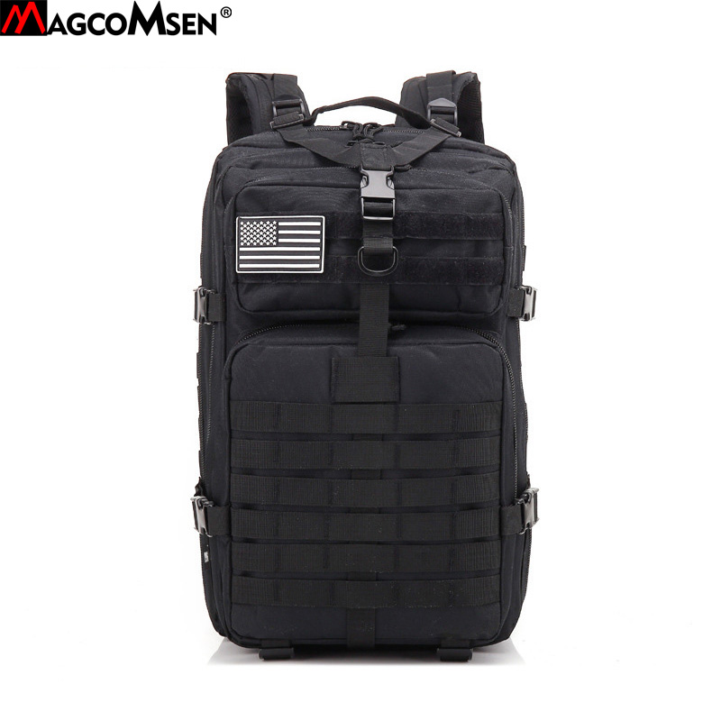 MAGCOMSEN Men Backpack 600D Nylon Waterproof Military Army Rucksack Vintage School Bag Laptop Backpacks for Men 42L AG-BL-01 zuoxiangru vintage canvas women men backpack army style notebook men rucksack military 15inch laptop school backpacks women