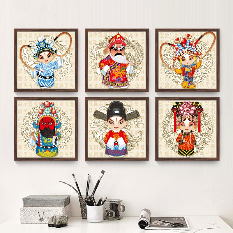 Peking Opera characters entrance decorative painting home bedroom abstract painting office hotel sofa background wall mural in Painting Calligraphy from Home Garden