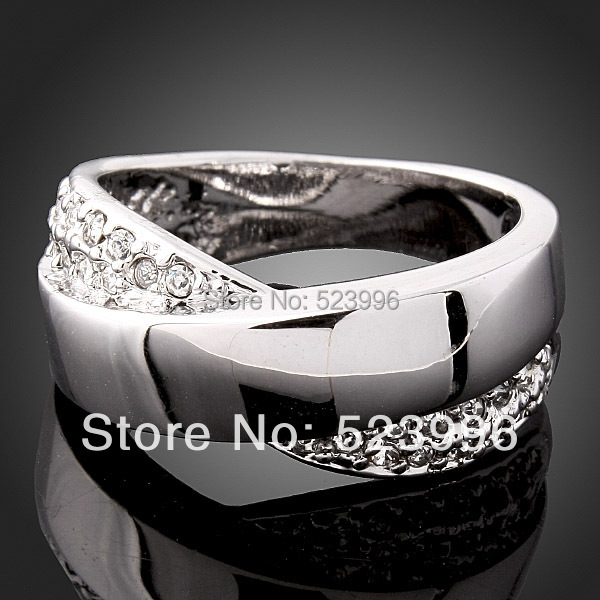 high quality glaze rhinestones bow the men ring white gold color