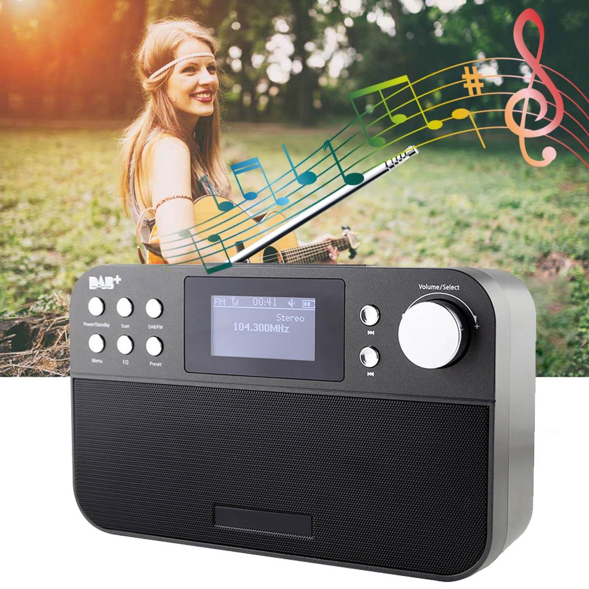 Portable 2.4 pouces Radio numérique haut-parleur de musique Support FM + DAB Radio avec LCD horloge numérique Snooze fonction d'alarme décor à la maison