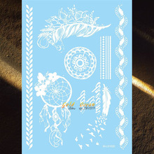 Hot Dreamcatcher White Flying Birds Feather Designs Waterproof Temporary Tattoo Henna Paste 21x15CM Party Makeup Tatoos