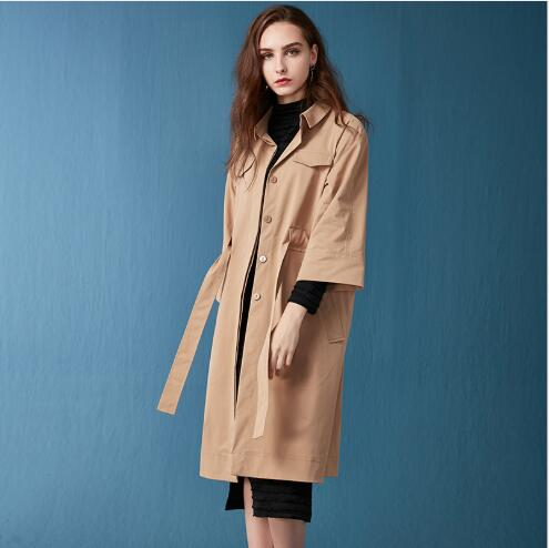 Automne khaki Nouveau Green Long Down Slim Solide Lady Office Neuf Manches Fit Col Casual 2018 Femmes Trimestre Manteau Turn Style Trench Trenchfr1116 f1gwxfEqd
