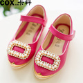 Summer Princess Shoes New Style Head Of The Metal Shoes Girl Pearl Shoes Girls Party Shoes Kids Leather Shoes150807