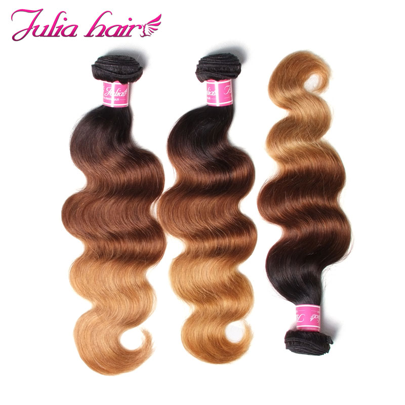 Ali Julia Hair Products Brazilian Ombre Body Wave Human Hair Bundles Color 1B427 16 to 26