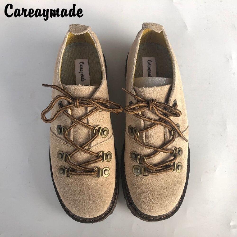 Careaymade nuevas botas hechas a mano, zapatos de cuero genuino, zapatos de chica mori de arte retro, botas cortas informales, zapatos de cuero mate-in Botas hasta el tobillo from zapatos    1