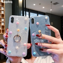 Cqqdoq Luxury Pearl Ring Holder Case For iPhone 4S 5S 6 6S 7 8 Plus Soft TPU Back Protection Cases For iPhone X XR XS MAX Fundas стоимость